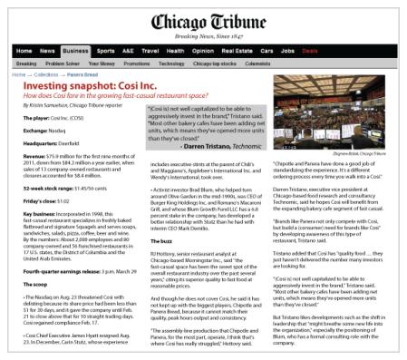 Investing snapshot: Cosi Inc.