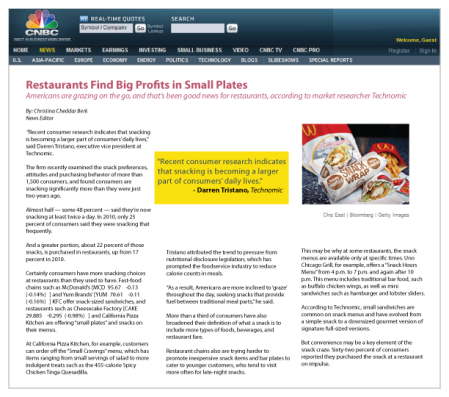 Restaurants Find Big Profits in Small Plates