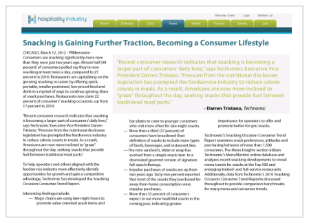 Snacking is Gaining Further Traction, Becoming a Consumer Lifestyle