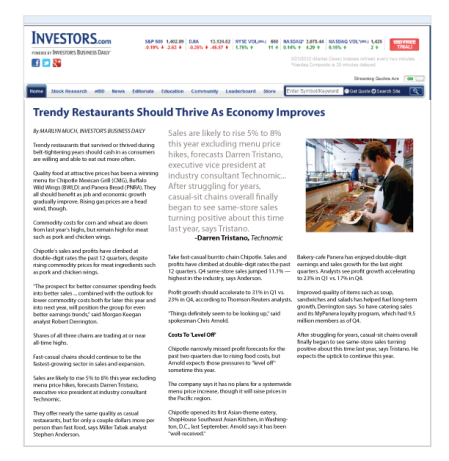 Trendy Restaurants Should Thrive As Economy Improves