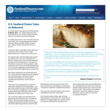 U.S. seafood chains' sales on rebound