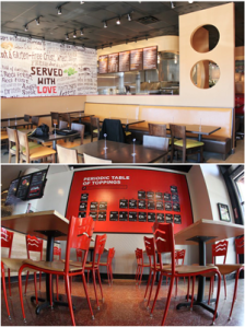 "Décor at Uncle Maddio's Pizza Joint units (top) includes abstract wall dividers and a word wall, dominated by the phrase ""Served with love."" Pie Five Pizza Co. units feature science-themed murals, such as a periodic table that replaces the elements with Pie Five pizza ingredients."