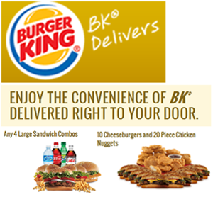 Burger King launched delivery service in select markets in the U.S. The delivery menu features Burger King's traditional offerings along with large combo meals.